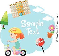 Border design with girl on bike