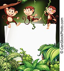 Border design with monkey on the tree