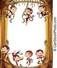 Border design with monkeys climbing the tree