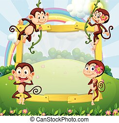 Border design with monkeys in the park