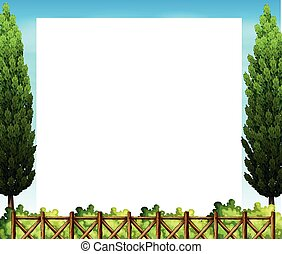 Border design with tree and fence