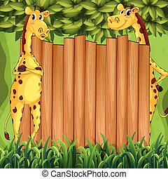 Border design with two giraffes