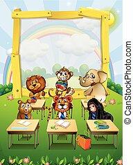 Border design with wild animals sitting in classroom