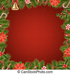 Border Fir Tree Branches With Poinsettia