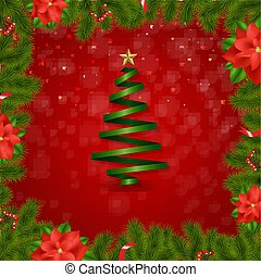 Border Fir-tree Branches With Poinsettia