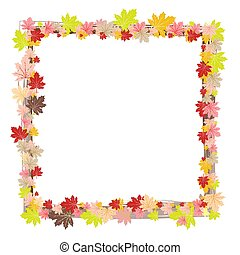 Border frame of colorful autumn leaves isolated on white background
