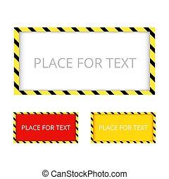 border., frontière, jaune, color., vect, construction, noir, avertissement