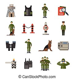Border guard icons flat set with passport check dog guard soldier isolated vector illustration