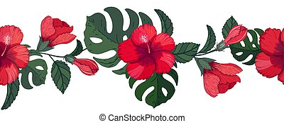 Border hibiscus and monstera, floral endless brush