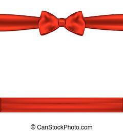 border., illustration, arc, vecteur, ruban, horizontal, rouges