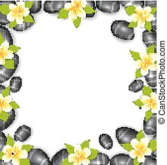 Border Made in Stones and Tropical Beautiful Flowers