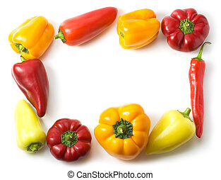 Border made of different peppers isolated