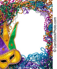 Border made of mardi gras bead and mask on white - A border ...