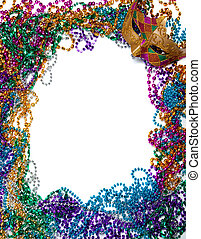Border made of mardi gras bead and mask on white - A border...