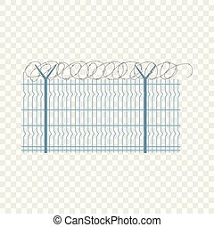 Border metal fence icon, flat style