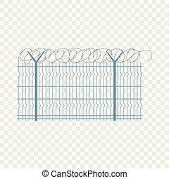 Border metal fence icon, flat style