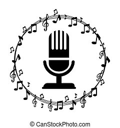 border musical notes with microphone