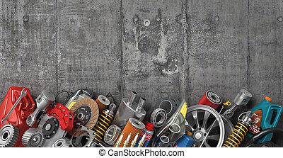 Border of auto parts on concrete wall. Auto service.