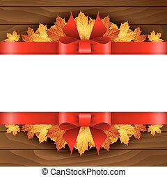 Border of autumn maples leaves decorated with a red bow on...