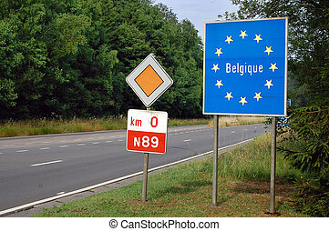 Border between France and Belgium - Road sign indicating the border of a European Union country