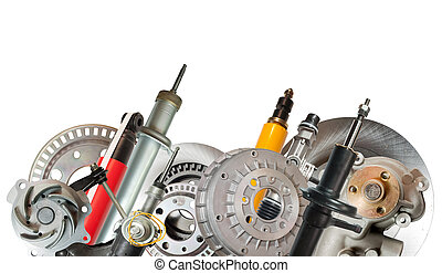 Border of car parts. Isolated on white