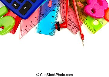 Border of colorful school supplies with math theme on a white background