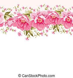 Border of flowers for seamless texture. Textile design. illustration.