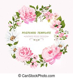 Border of flowers with all good wishes text. Vector ...