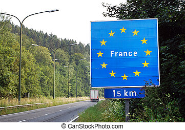 Border of France - Border between France and Belgium - Road...