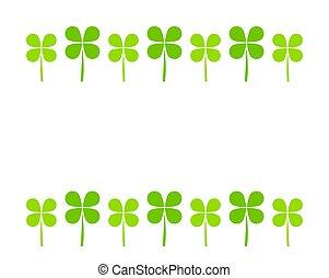 Border of green clover leaves on white background