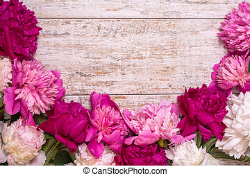 Border of peonies on a wooden background with empty space for text