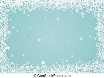 Border of snowflakes - Border of various snowflakes on light...