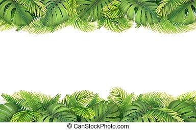 Border of tropical leaves