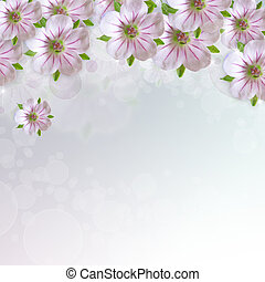 Border of white - pink  flower  on blue   background