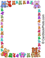 white background with colorful teddies border