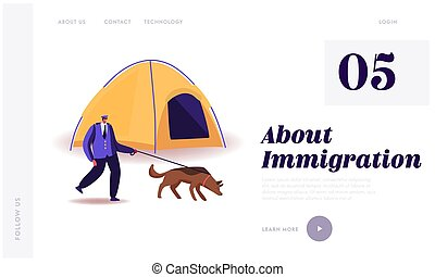 Border Protection, Police Officer Territory Patrol. Landing Page Template. Border Guard Character with Dog on Leash Searching Illegal Immigrants in Refugees Camp with Tent. Cartoon Vector Illustration
