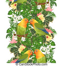 Border seamless background parrots Agapornis lovebird and...