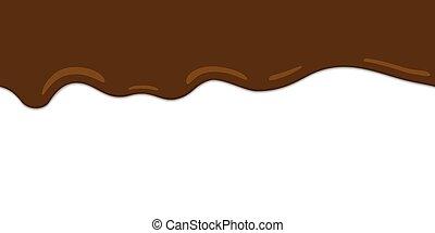 border., seamless, choklad, drips., smält, vector.