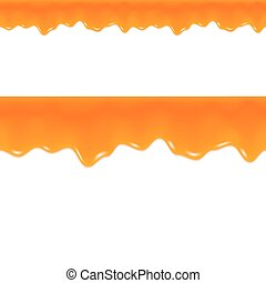 border., seamless, drips., grapefrukt, marmelad, juice., vector., apelsin