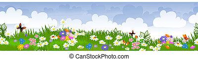 border seamless flower fields