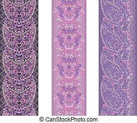 border-set., ethnique, paisley, vertical, seamless