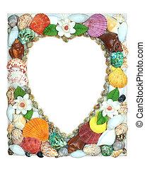 Border summer shells frame composition