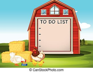Border template design with chickens on the barn