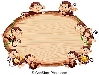 Border template design with cute monkeys