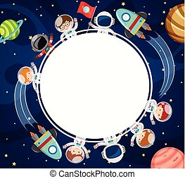 Border template with astronauts in space