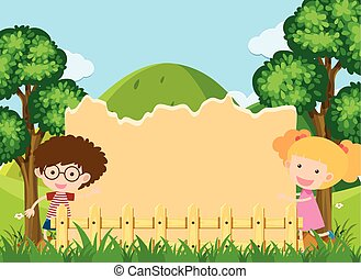 Border template with boy and girl in park
