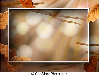 Border template with brown leaves