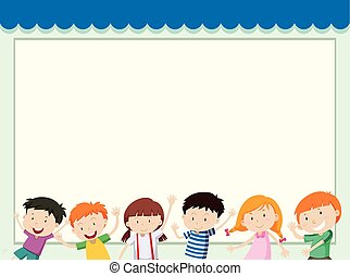 Border template with children in background