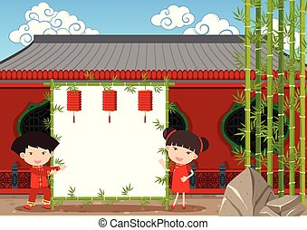 Border template with chinese kids at temple