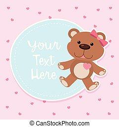 Border template with cute teddybear illustration